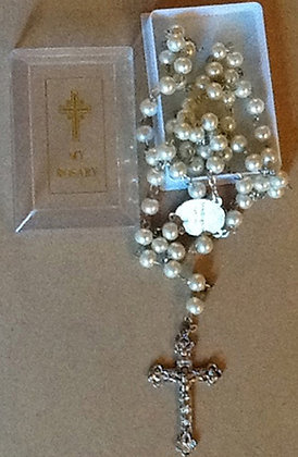Rosary white Pearl in box