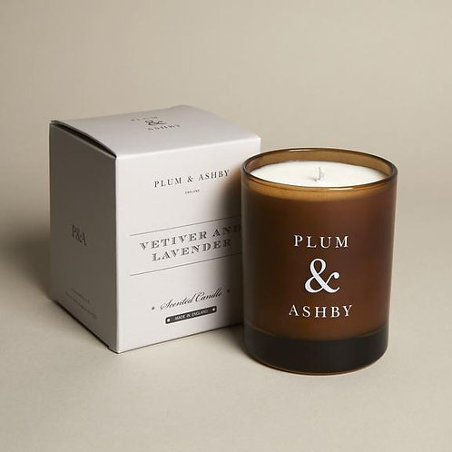 gorgeous vetiver and lavender scented candle by plum and ashby