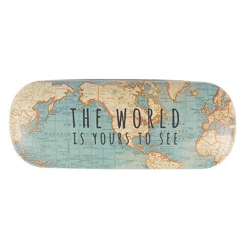 world map glasses case
