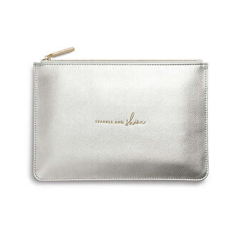 metallic silver perfect pouch