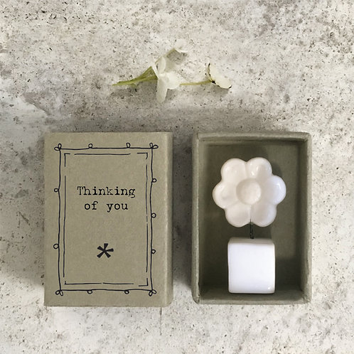 thinking of you porcelain gift flower in mtachbox