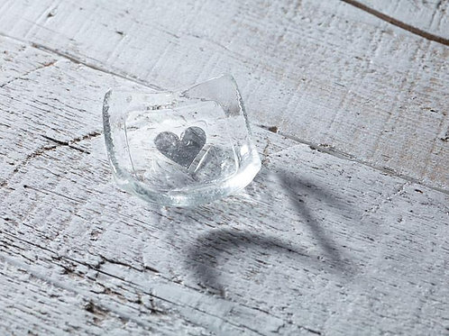 Silver heart glass dish from Jo Downes