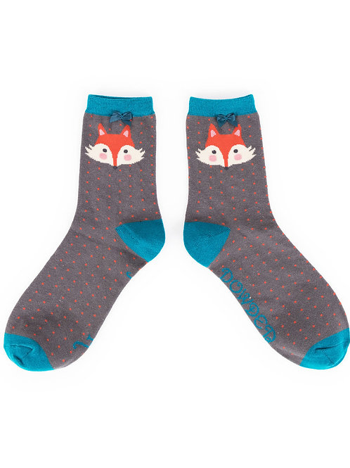 Powder Design Fox Ankle Socks Charcoal