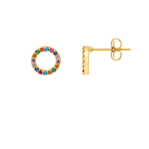 estella bartlett rainbow circle stud earrings