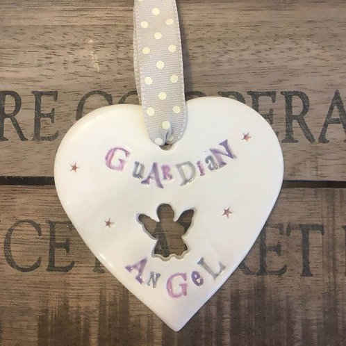 Guardian angel hanging heart in glazed ceramic