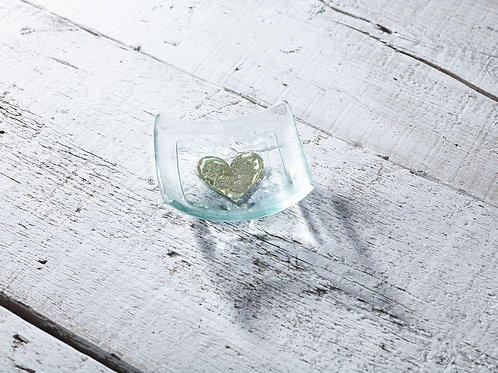 Jo Downes gold heart earring dish gift idea