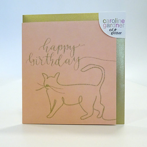 happy birthday cat design card