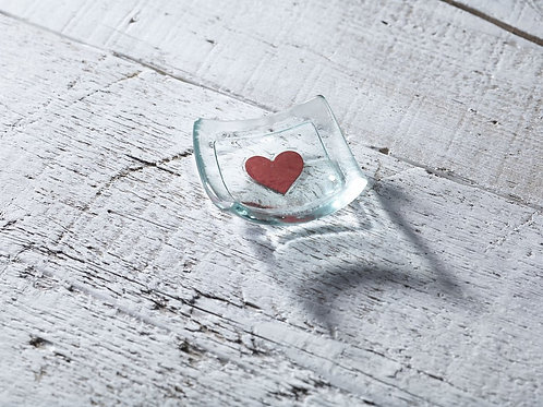 Jo downes small earring dish with a red heart