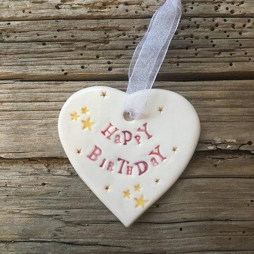 Happy Birthday gift ceramic hanging heart