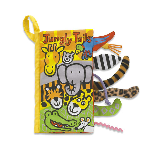 colourful jungly tails fabric book