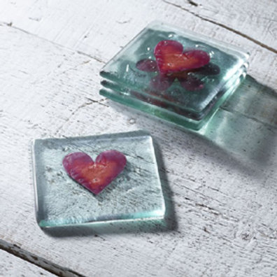 Jo Downs Red Heart Glass Coaster