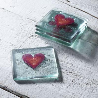 Jo DownsRed Heart Glass Coaster