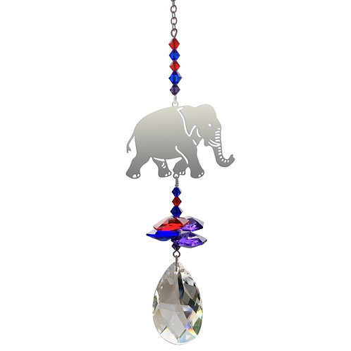 Small elephant hanging crystal by wild things