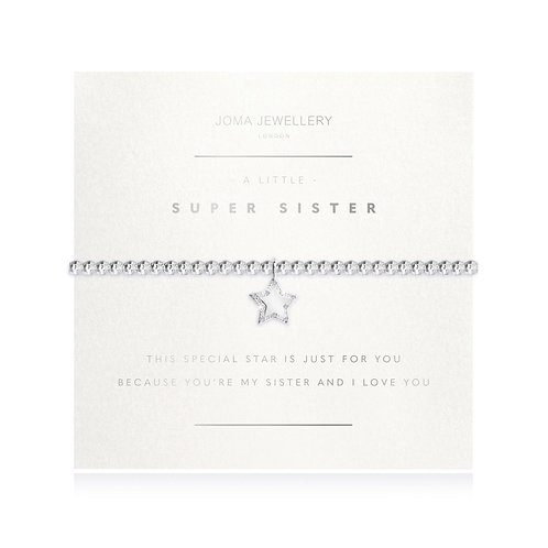 super sister gift bracelet in silver with gift bag