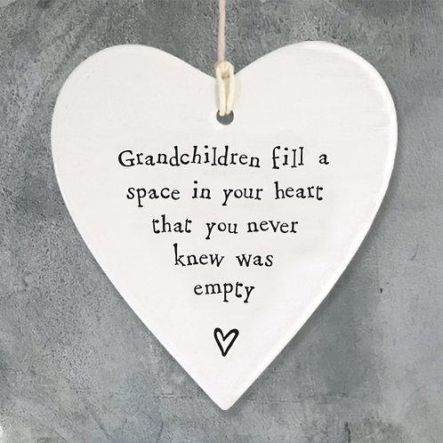 Grandchildren Fill a Space Porcelain Heart