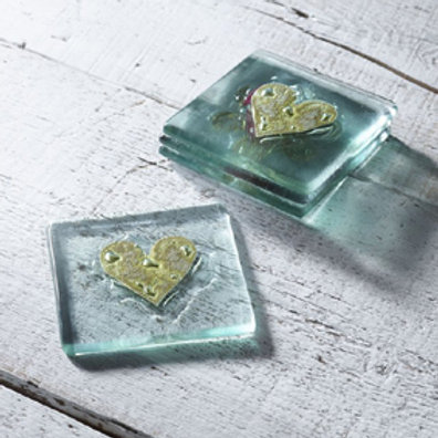 Jo Downs Gold Heart glass coaster