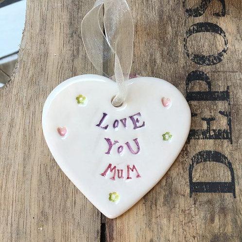 Love You Mum ceramic hanging heart