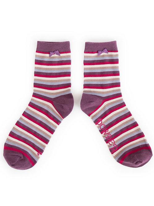 Powder Design StripeAnkle Socks Damson
