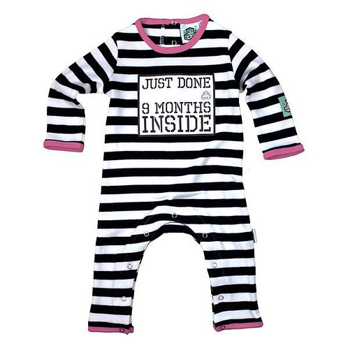 Lazy Baby 'Just Done 9 Months Inside' Baby Grow Pink