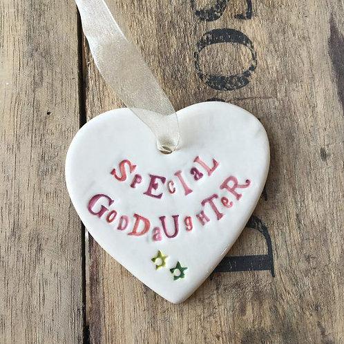 Special Goddaughter Ceramic Heart