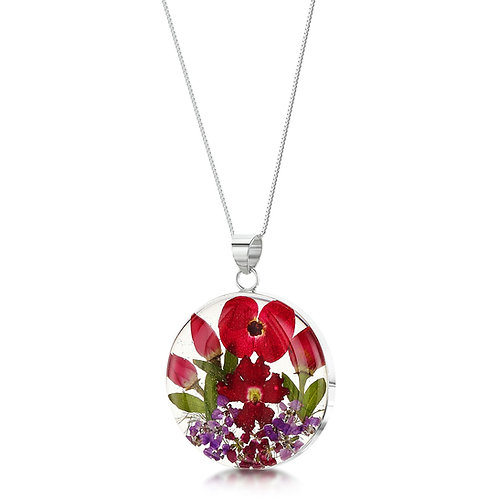 shrieking violet poppy and rose pendant necklace in sterling silver