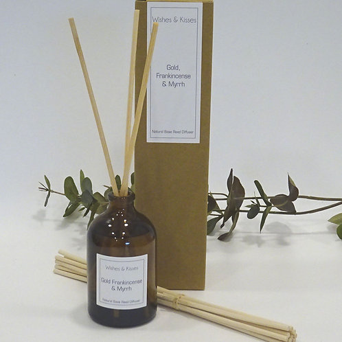 gold, frankincense and myrrh reed diffuser by wishes and kisses