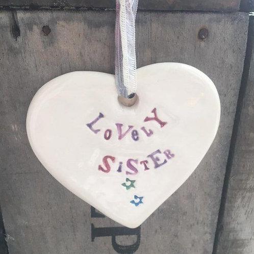 Ceramic heart for a sister
