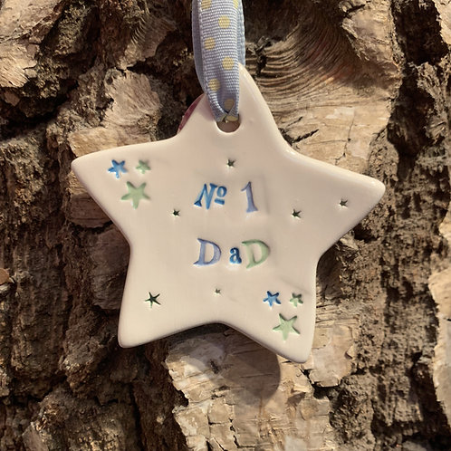 Number 1 Dad star hanging gift