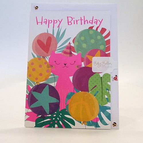 Pretty Pink cat birthday card