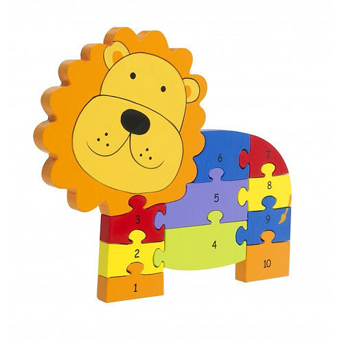 Lion Wooden Number Puzzle
