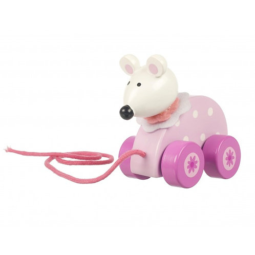 cute pink mouse pull along toy