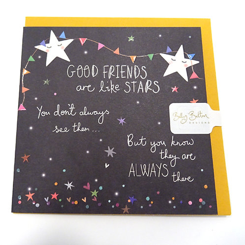 belly button card good friends are like stars