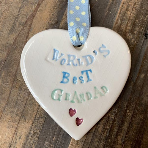 Hanging heart for the world's best grandad