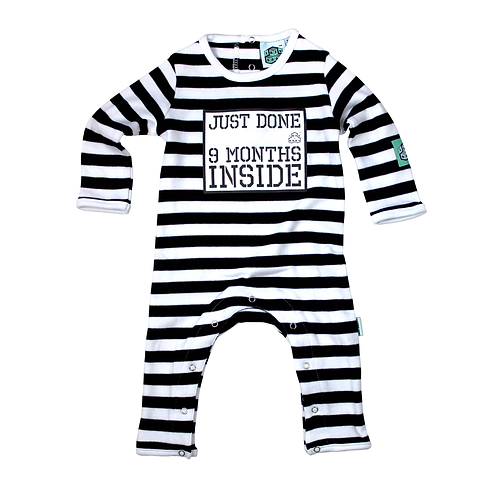 Lazy Baby 'Just Done 9 Months Inside' Baby Grow white
