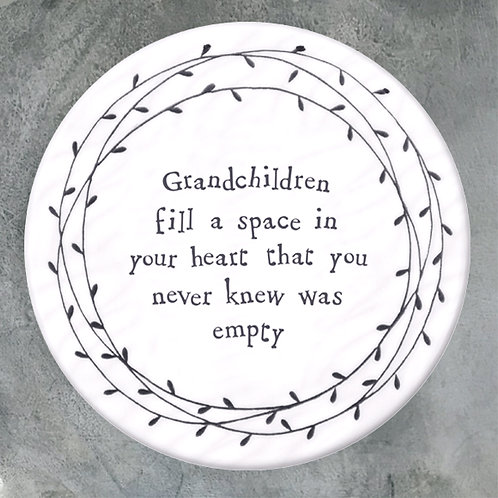 east of india round porcelain coaster for grandparents