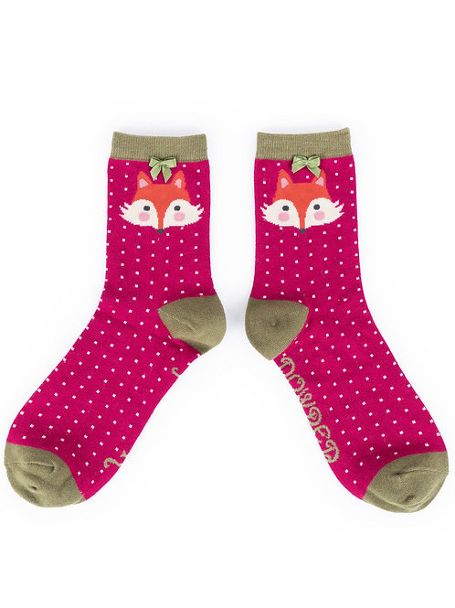 Powder Design Fox Ankle Socks Berry