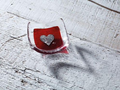 red and silver earring dish in glass finish