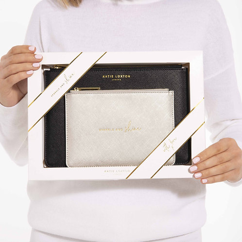 perfect pouch gift set by katie loxton in charcoal and sliver