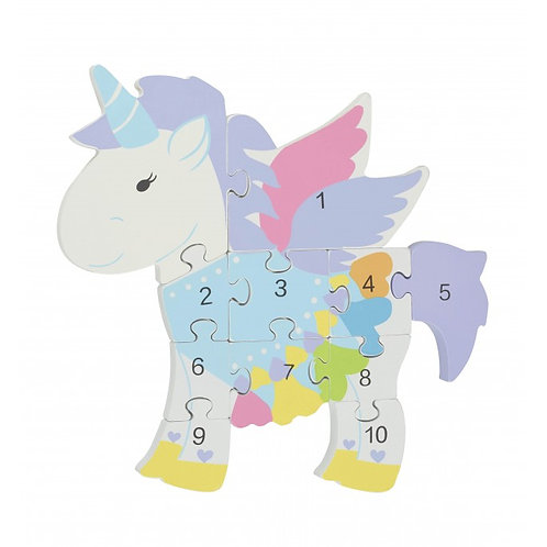 painted wooden number puzzle toy by orange tree