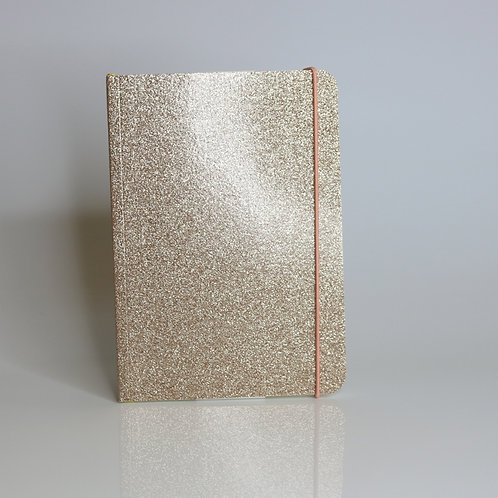 Caroline Gardner Gold Glitter A5 Notebook front view