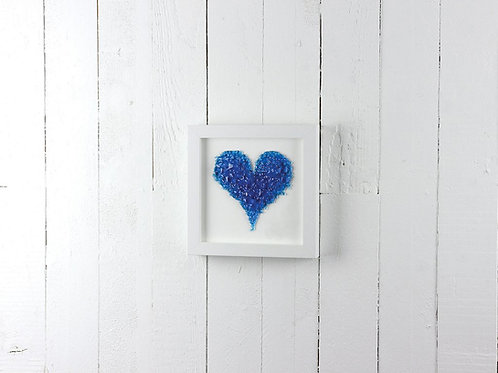 Gorgeous blue frit glass heart in white frame by jo downes