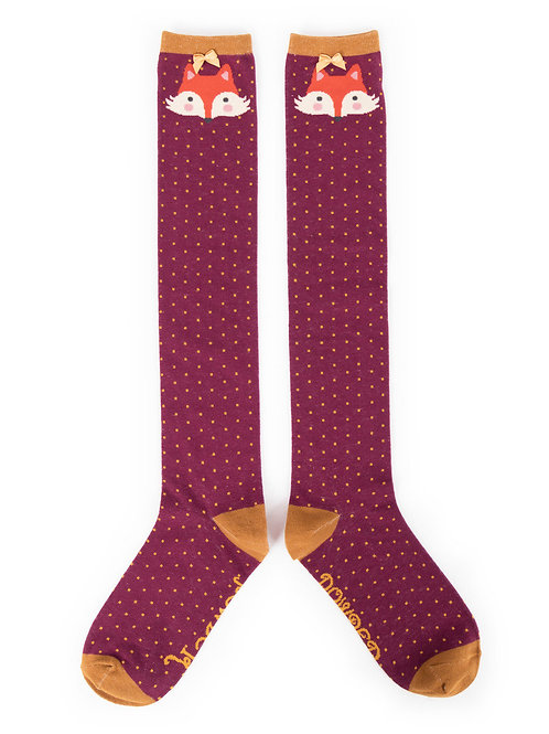 Powder Design Fox Knee High Socks Damson