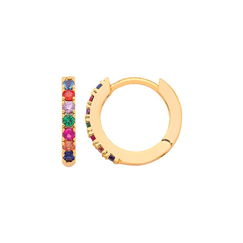 Pave rainbow earrings in goldplated finish