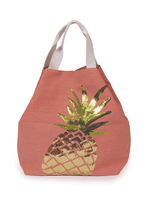 Coral powder beach bag