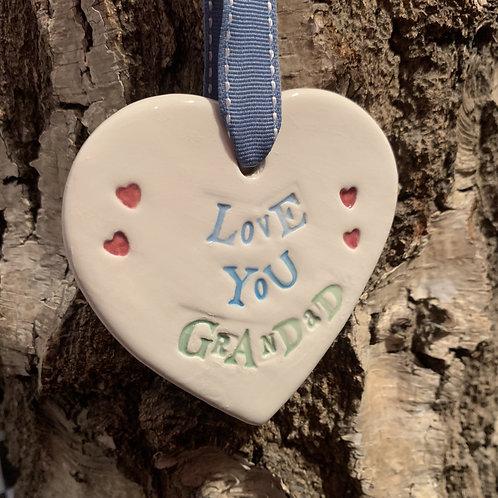 Love you grandand ceramic hanging heart gift