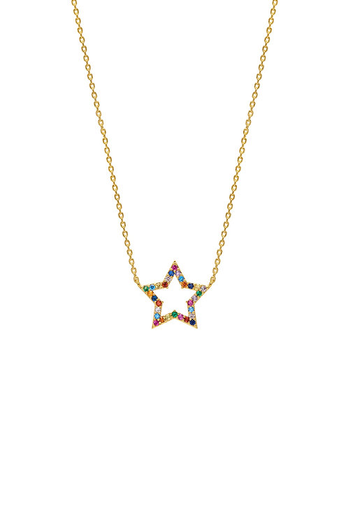 pretty rainbow star zircona necklace