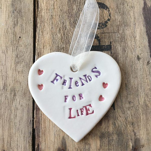 Friends for Life lovely hanging heart gift