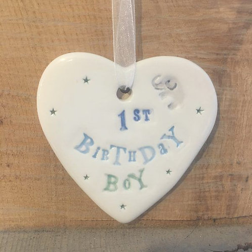 First Birthday heart for a boys birthday