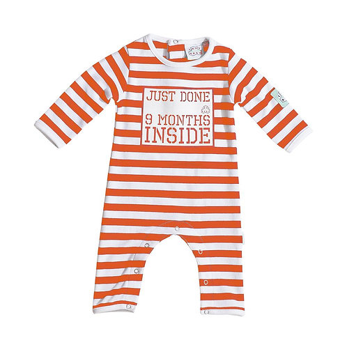 Lazy Baby 'Just Done 9 Months Inside' Baby Grow orange