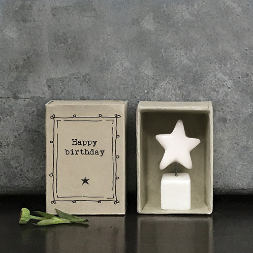 Happy Birthday white porcelain star gift